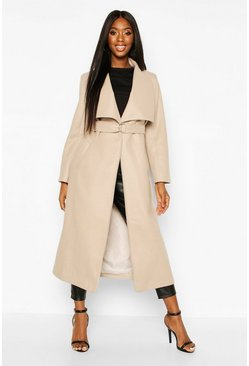 Dam Stone Longline Ring Detail Wool Look Coat