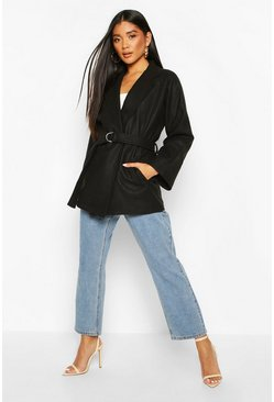 Womens Black Ring Detail Belted Wool Look Coat