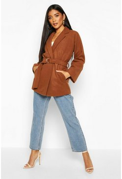 Tobacco Ring Detail Belted Wool Look Coat