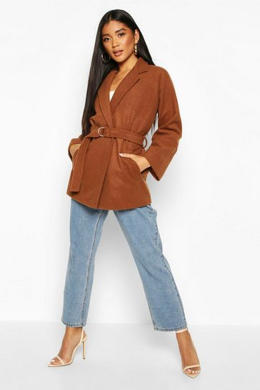 Womens Tobacco Ring Detail Belted Wool Look Coat