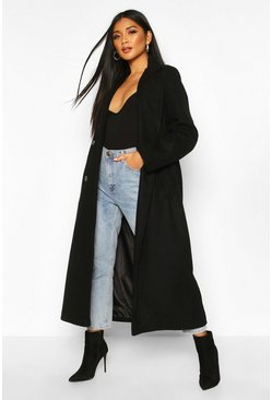 Womens Black Longline Double Breasted Belted Wool Look Coat