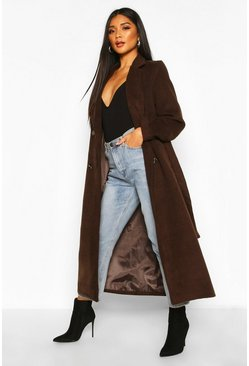 Womens Chocolate Longline Double Breasted Belted Wool Look Coat