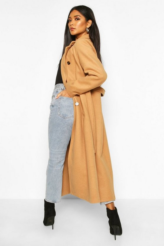 Longline Double Breasted Belted Wool Look Coat