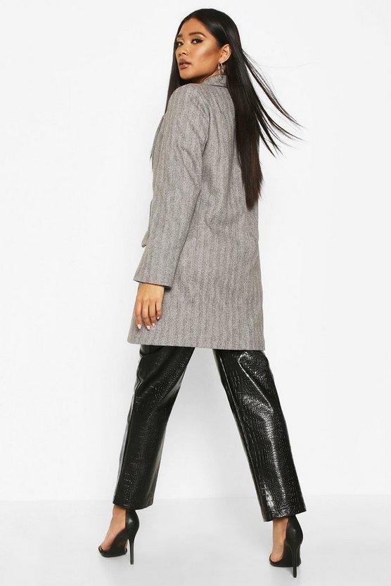 Herringbone Double Breasted Wool Look Coat