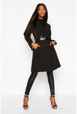 Womens Black Faux Leather Belted Trench Coat