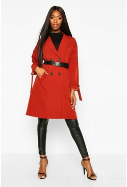 Womens Rust Faux Leather Belted Trench Coat