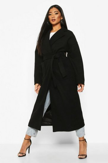 Black Oversized Pocket Belted Maxi Wool Look Coat