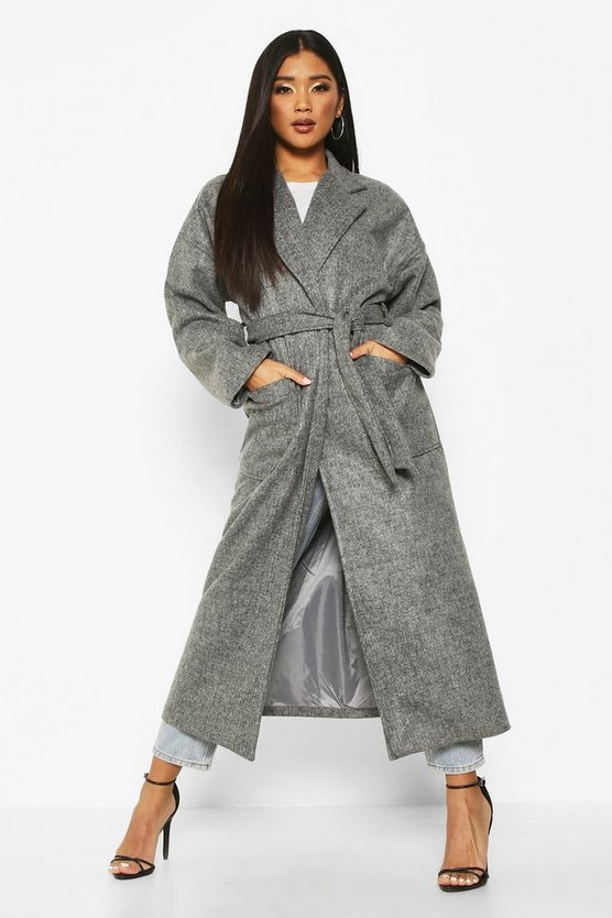 Grey Oversized Pocket Belted Maxi Wool Look Coat