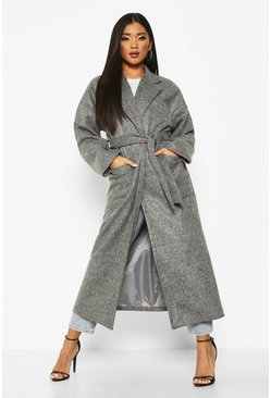 Womens Grey Oversized Pocket Belted Maxi Wool Look Coat