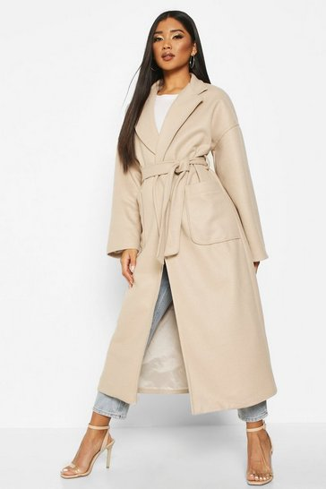 Stone Oversized Pocket Belted Maxi Wool Look Coat