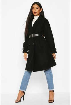 Womens Black Pu Belted Trench Wool Look Coat