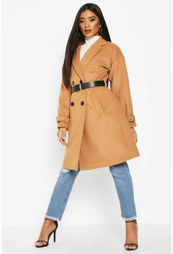 Camel Pu Belted Trench Wool Look Coat