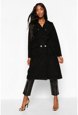Dam Black Double Breasted Trench Wool Look Coat