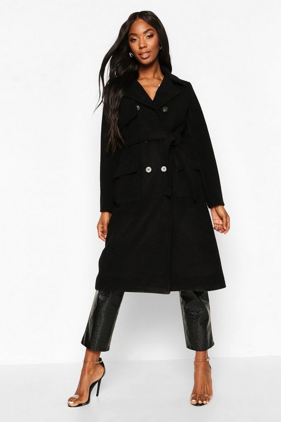 Double Breasted Trench Wool Look Coat