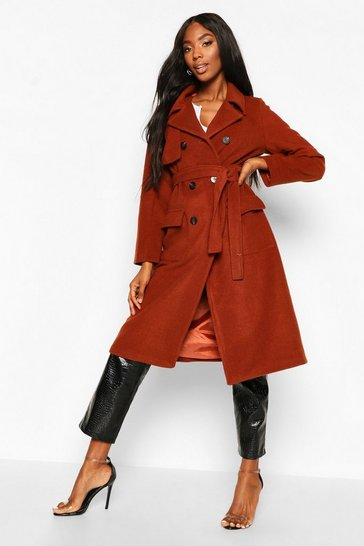 Womens Rust Double Breasted Trench Wool Look Coat