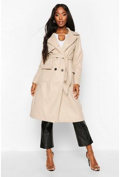 Womens Stone Double Breasted Trench Wool Look Coat