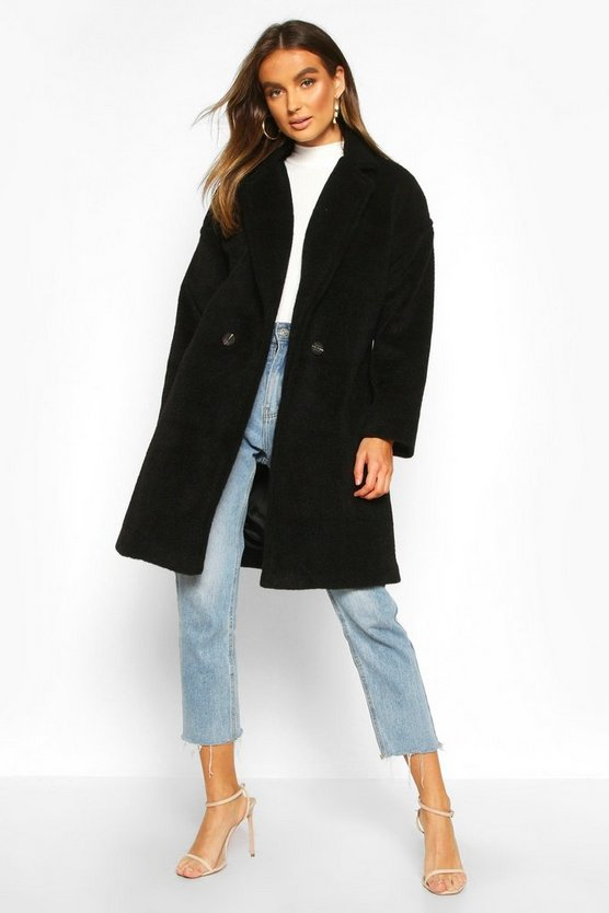 Womens Black Luxe Brushed Wool Look Button Through Coat