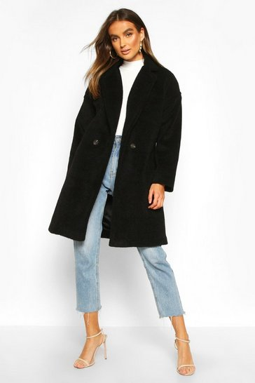 Black Luxe Brushed Wool Look Button Through Coat