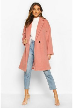 Womens Dusky pink Luxe Brushed Wool Look Button Through Coat