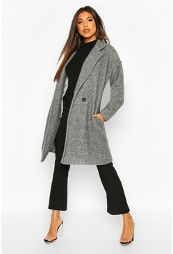 Grey Luxe Brushed Wool Look Button Through Coat