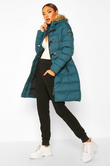 Womens Teal Quilted Faux Fur Hood Parka