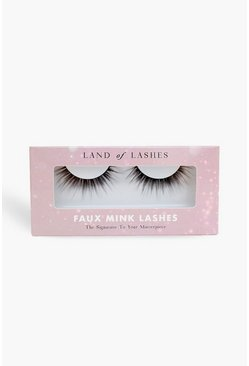 Womens Black Land Of Lashes Faux Mink - Feather