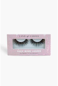 Womens Black Land Of Lashes Faux Mink -  Icon