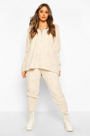 Womens Cream Borg Oversized Joggers