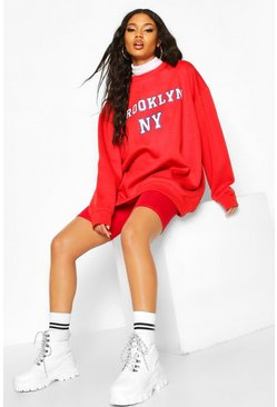 Womens Red Oversized Brooklyn Sweat