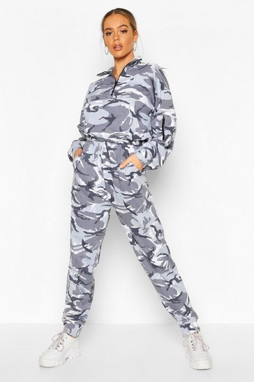 Silver Camo Hoodie And Jogger Set