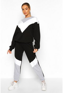Black Colour Block Oversized Sweater Tracksuit