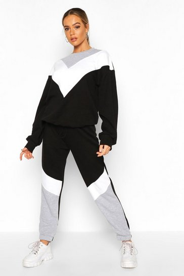 Womens Black Colour Block Oversized Sweater Tracksuit