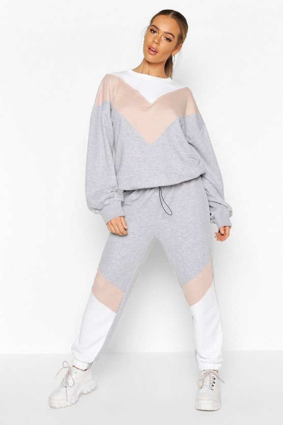 Colour Block Oversized Sweater Tracksuit