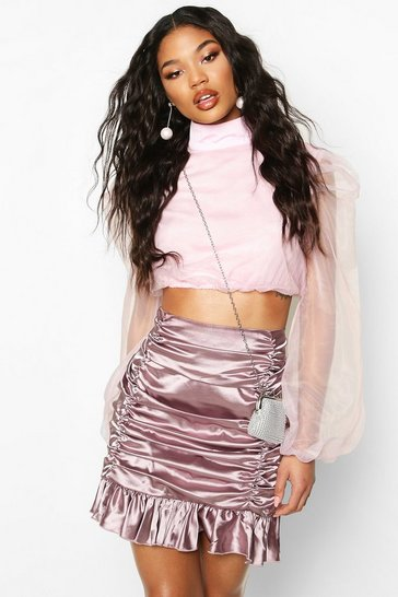 Mauve Satin Ruched Mini Skirt