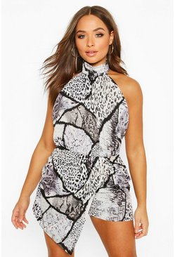 Grey High Neck Snake Print Wrap Front Playsuit