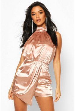 Champagne High Neck Wrap Front Satin Romper