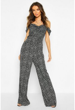 Womens Black Cowl Neck Cold Shoulder Jumpsuit