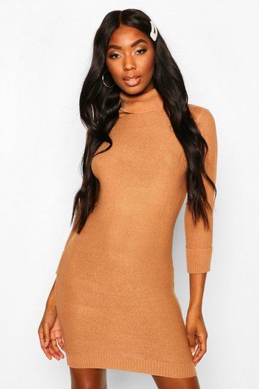 Womens Camel Roll Neck Knitted Mini Jumper Dress