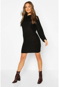 Black Knitted Cowl Neck Sweater Dress