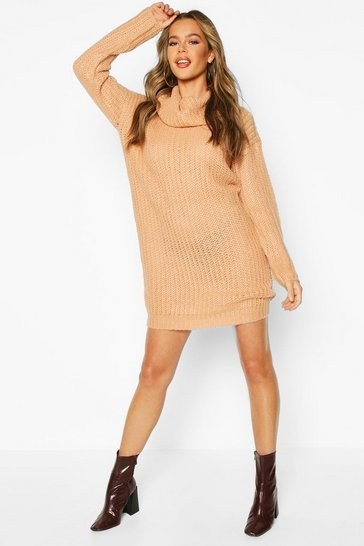 Womens Camel Knitted Cowl Neck Jumper Dress