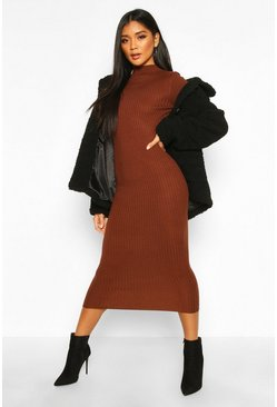 Womens Brown Ribbed Turtle Neck Midi Dress