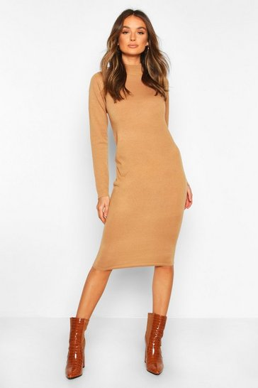 Womens Camel Turtle Neck Knitted Jumper Dress