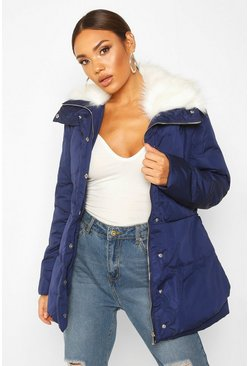 Navy Faux Fur Trim Puffer Jacket