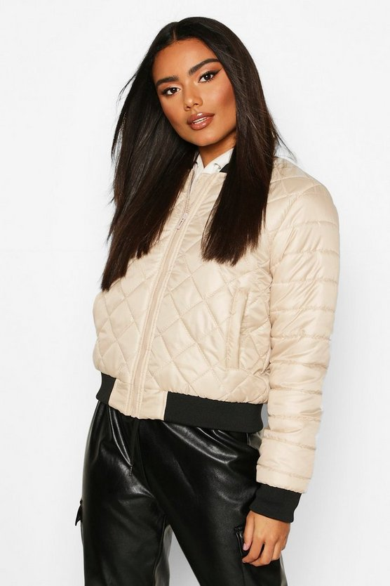 Stone Quilted Bomber Jacket