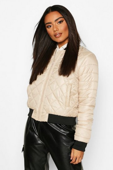 Womens Stone Quilted Bomber Jacket