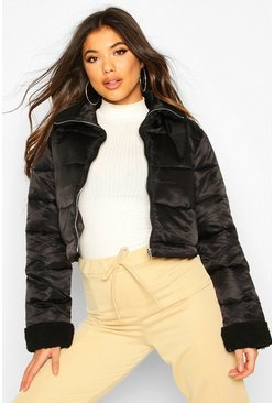 Black Teddy Faux Fur Panelled Puffer Jacket