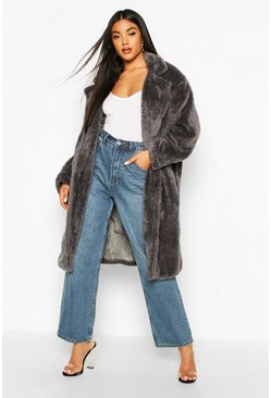 Grey Longline Oversized Teddy Faux Fur Coat