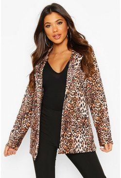Womens Leopard Pocket Front Blazer