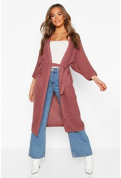 Womens Antique rose Belted Boyfriend Cardigan
