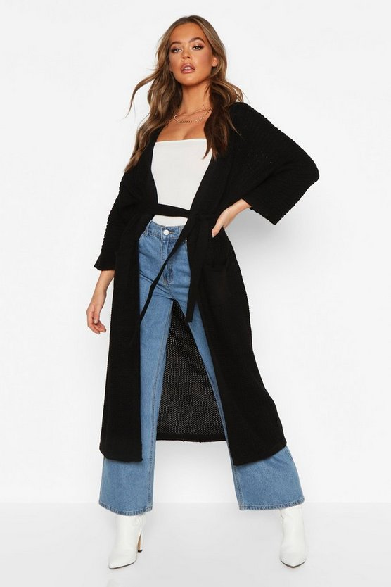 Black Belted Boyfriend Cardigan